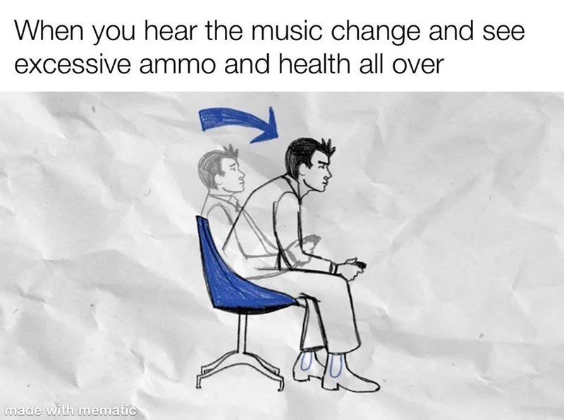 Hair - When you hear the music change and see excessive ammo and health all over made with mematic