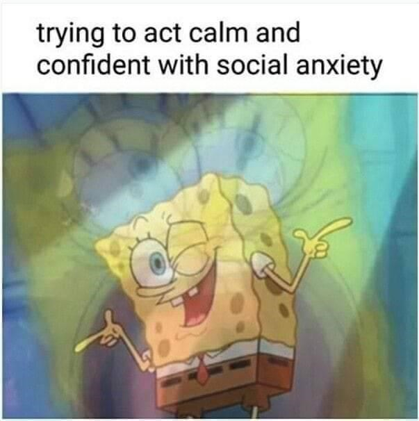 Cartoon - trying to act calm and confident with social anxiety