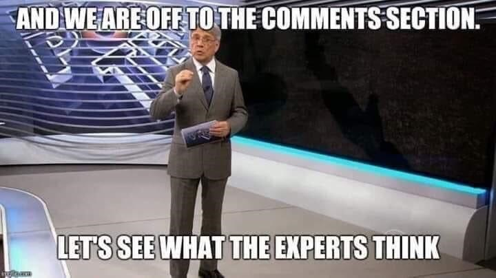 World - AND WE ARE OFF TO THE COMMENTS SECTION. LET'S SEE WHAT THE EXPERTS THINK