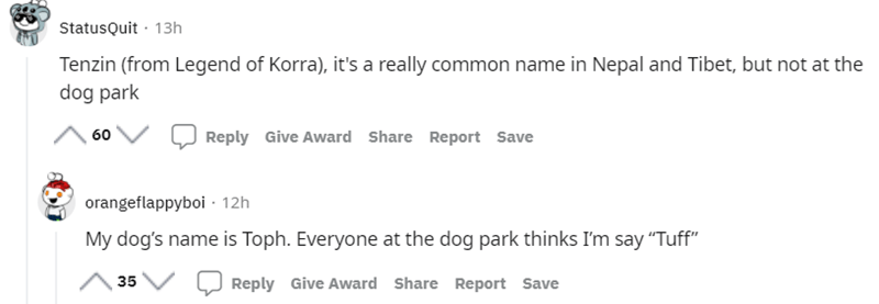 """Font - StatusQuit · 13h Tenzin (from Legend of Korra), it's a really common name in Nepal and Tibet, but not at the dog park 60 Reply Give Award Share Report Save orangeflappyboi - 12h My dog's name is Toph. Everyone at the dog park thinks I'm say """"Tuff"""" 35 Reply Give Award Share Report Save"""