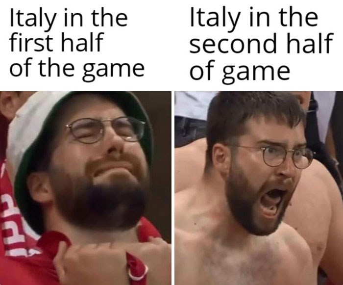 Glasses - Italy in the first half of the game Italy in the second half of game