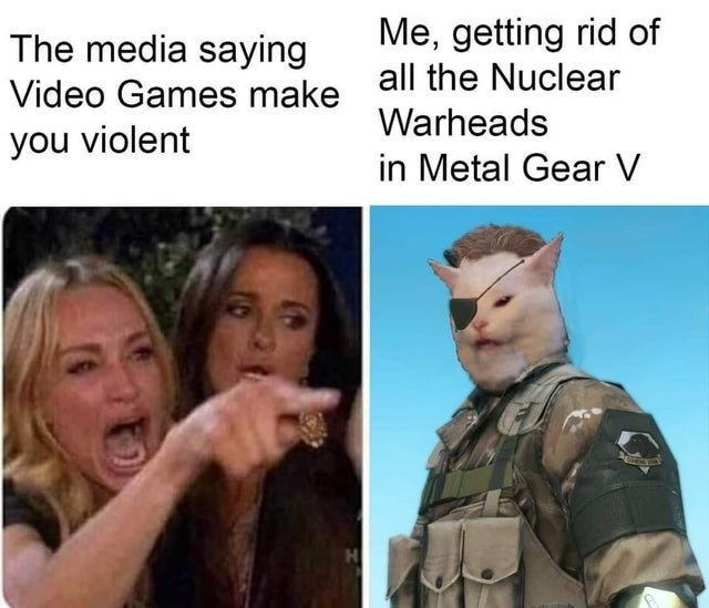 Head - Me, getting rid of all the Nuclear The media saying Video Games make Warheads you violent in Metal Gear V