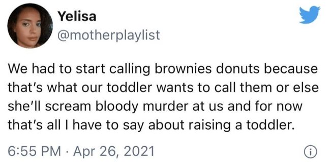 Font - Yelisa @motherplaylist We had to start calling brownies donuts because that's what our toddler wants to call them or else she'll scream bloody murder at us and for now that's all I have to say about raising a toddler. 6:55 PM · Apr 26, 2021