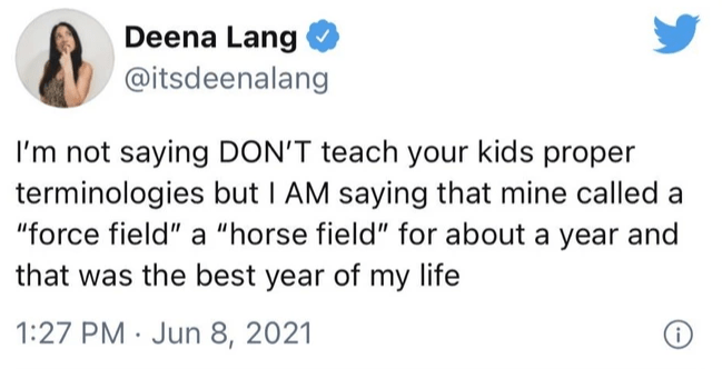 """Gesture - Deena Lang @itsdeenalang I'm not saying DON'T teach your kids proper terminologies but I AM saying that mine called a """"force field"""" a """"horse field"""" for about a year and that was the best year of my life 1:27 PM · Jun 8, 2021"""