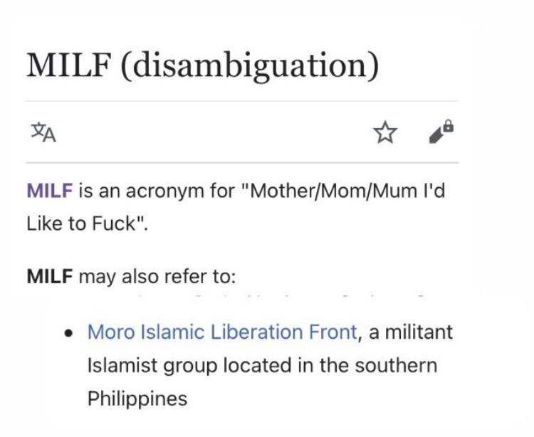 """Font - MILF (disambiguation) 刘 MILF is an acronym for """"Mother/Mom/Mum l'd Like to Fuck"""". MILF may also refer to: Moro Islamic Liberation Front, a militant Islamist group located in the southern Philippines"""