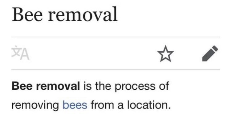 Font - Bee removal YA Bee removal is the process of removing bees from a location.