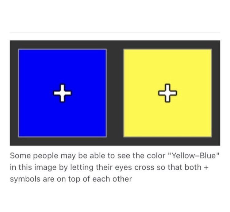 """Rectangle - Some people may be able to see the color """"Yellow-Blue"""" in this image by letting their eyes cross so that both + symbols are on top of each other"""