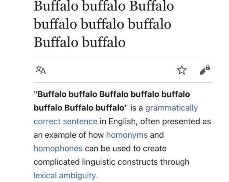 """Font - Buffalo buffalo Buffalo buffalo buffalo buffalo Buffalo buffalo """"Buffalo buffalo Buffalo buffalo buffalo buffalo Buffalo buffalo"""" is a grammatically correct sentence in English, often presented as an example of how homonyms and homophones can be used to create complicated linguistic constructs through lexical ambiguity."""