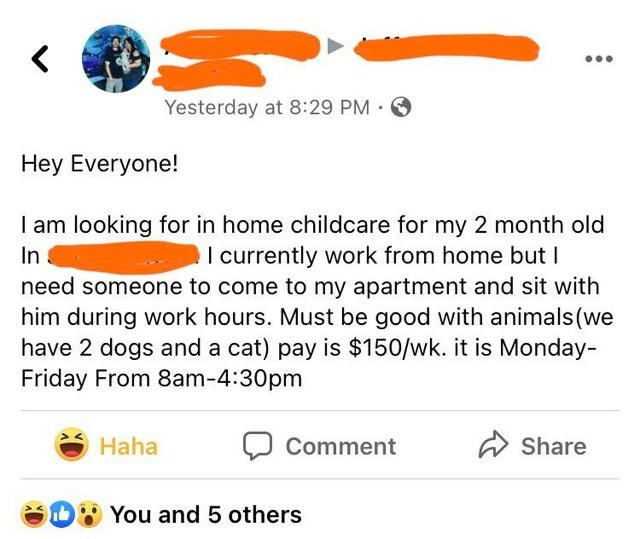 Product - Yesterday at 8:29 PM O Hey Everyone! I am looking for in home childcare for my 2 month old In need someone to come to my apartment and sit with him during work hours. Must be good with animals (we have 2 dogs and a cat) pay is $150/wk. it is Monday- Friday From 8am-4:30pm I currently work from home but I Haha Comment Share b You and 5 others