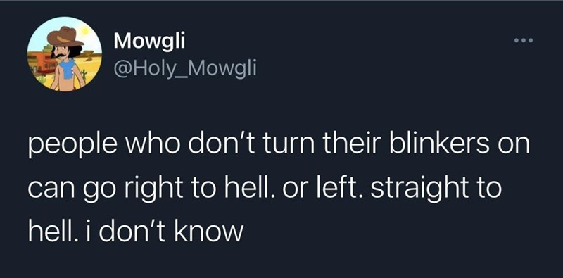 Font - Mowgli @Holy_Mowgli ... people who don't turn their blinkers on can go right to hell. or left. straight to hell. i don't know