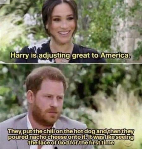 Clothing - Harry is adjusting great to America. They put the chili on the hot dog and thenthey poured nacho cheese onto it.it was like seeing the face of God for the first time