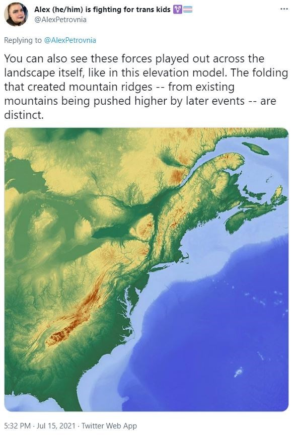 Water - Alex (he/him) is fighting for trans kids ... @AlexPetrovnia Replying to @AlexPetrovnia You can also see these forces played out across the landscape itself, like in this elevation model. The folding that created mountain ridges -- from existing mountains being pushed higher by later events -- are distinct. 5:32 PM Jul 15, 2021 Twitter Web App