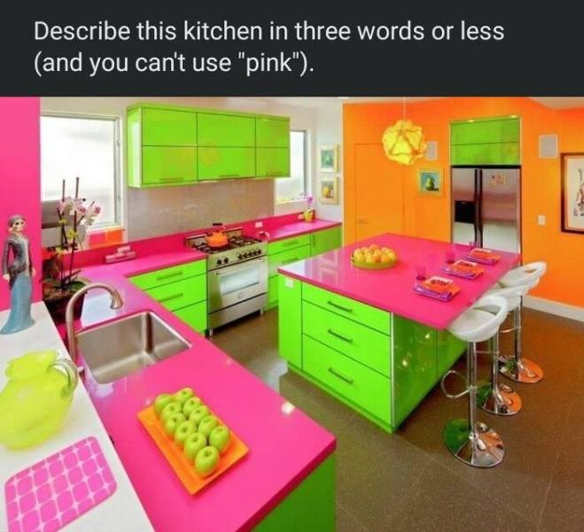 """Table - Describe this kitchen in three words or less (and you can't use """"pink"""")."""