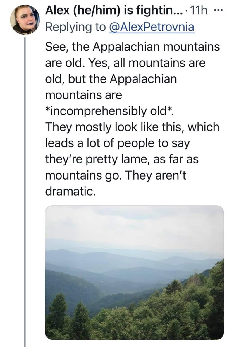 Product - Alex (he/him) is fightin... 11h ... Replying to @AlexPetrovnia See, the Appalachian mountains are old. Yes, all mountains are old, but the Appalachian mountains are *incomprehensibly old*. They mostly look like this, which leads a lot of people to say they're pretty lame, as far as mountains go. They aren't dramatic.