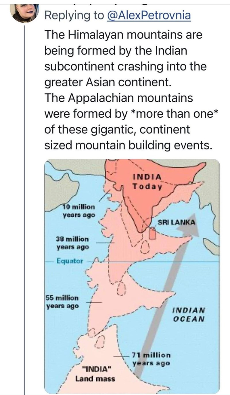 """Vertebrate - Replying to @AlexPetrovnia The Himalayan mountains are being formed by the Indian subcontinent crashing into the greater Asian continent. The Appalachian mountains were formed by *more than one* of these gigantic, continent sized mountain building events. INDIA Today 10 million years ago SRI LANKA 38 million years ago -Equator 55 million years ago INDIAN OCEAN 71 million years ago """"INDIA"""" Land mass"""