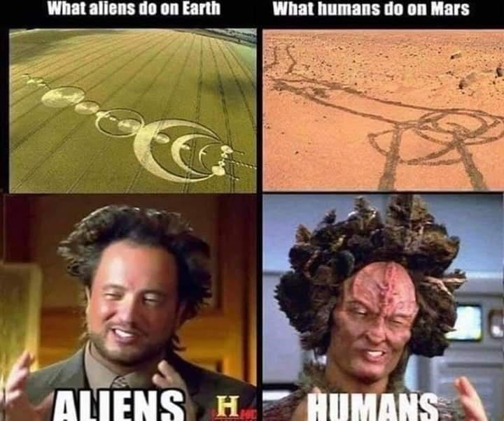 Head - What aliens do on Earth What humans do on Mars ALIENS H . HUMANS