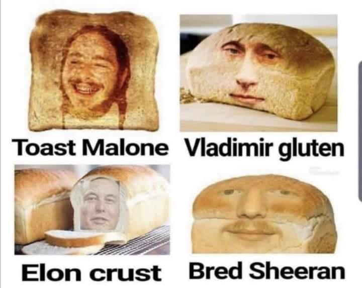 Nose - Toast Malone Vladimir gluten Elon crust Bred Sheeran