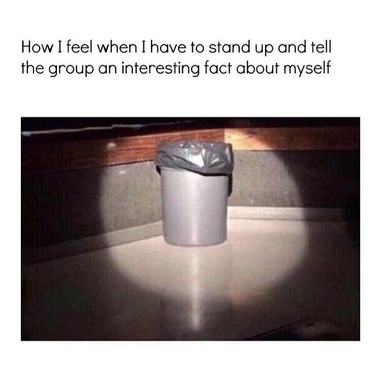 Automotive tire - How I feel when I have to stand up and tell the group an interesting fact about myself