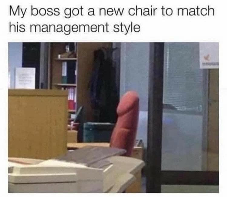 Wood - My boss got a new chair to match his management style