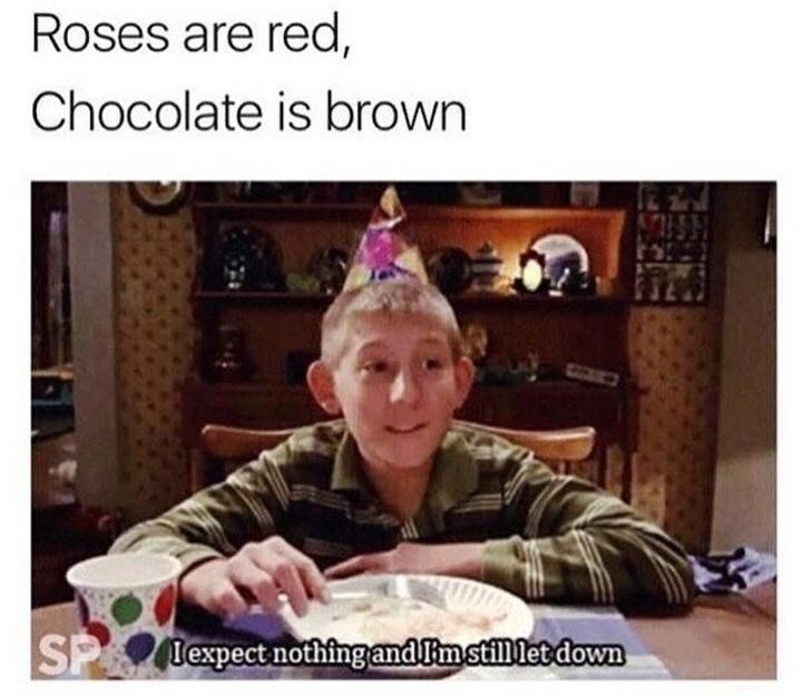 Facial expression - Roses are red, Chocolate is brown SP lexpect nothing andImstill let down