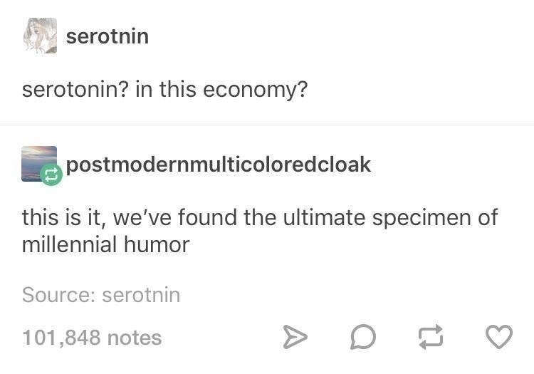 Font - serotnin serotonin? in this economy? postmodernmulticoloredcloak this is it, we've found the ultimate specimen of millennial humor Source: serotnin 101,848 notes A