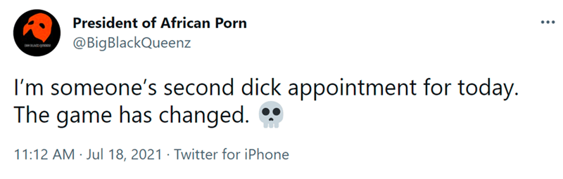 Font - President of African Porn @BigBlackQueenz I'm someone's second dick appointment for today. The game has changed. 11:12 AM · Jul 18, 2021 · Twitter for iPhone