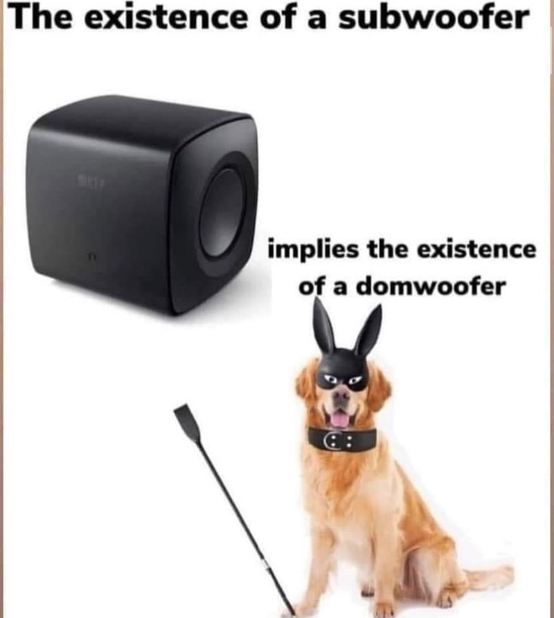 Dog - The existence of a subwoofer implies the existence of a domwoofer ::