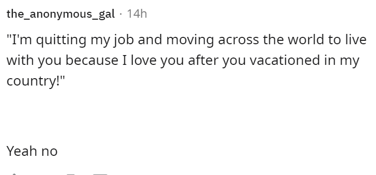 """Font - the_anonymous_gal · 14h """"I'm quitting my job and moving across the world to live with you because I love you after you vacationed in my country!"""" Yeah no"""