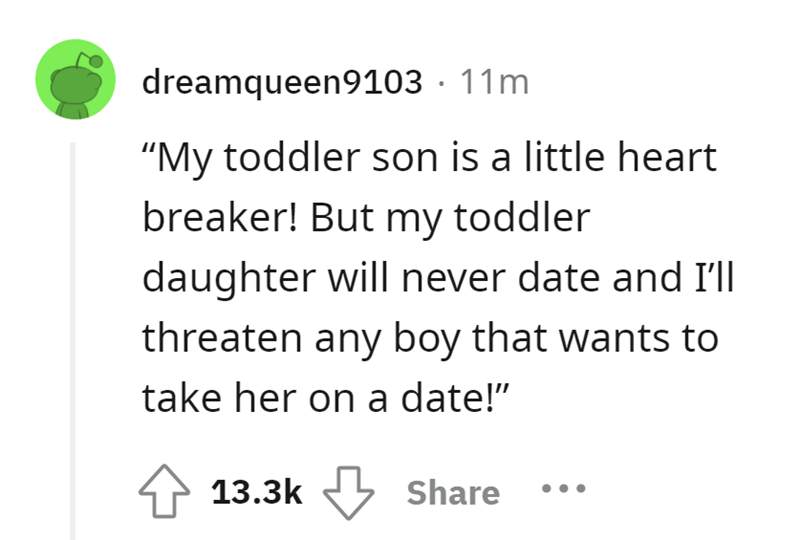 """Font - dreamqueen9103 · 11m """"My toddler son is a little heart breaker! But my toddler daughter will never date and I'll threaten any boy that wants to take her on a date!"""" 13.3k Share"""