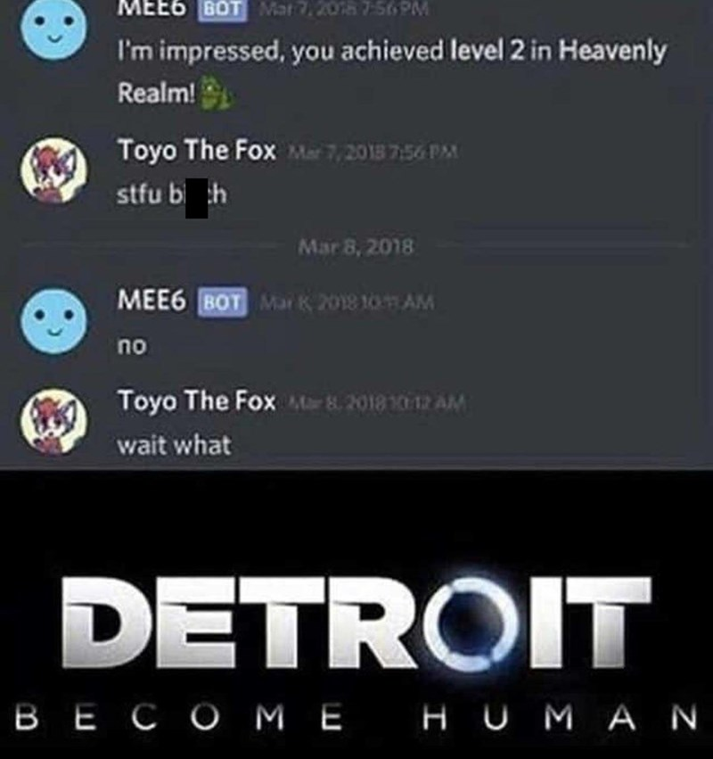Font - MEE6 BOT Mat 7,2018 7-569M I'm impressed, you achieved level 2 in Heavenly Realm! Toyo The Fox Mar 7,2018 7:56 PM stfu bi h Mar 8, 2018 MEE6 BOT Mar k 2018 10 AM no Toyo The Fox Mar 8 2018 10 12 AM wait what DETROIT BE COME HU MAN