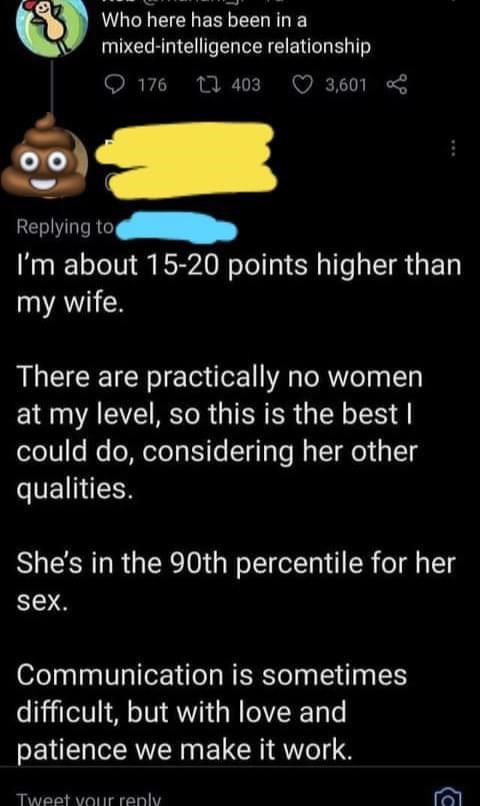Font - Who here has been in a mixed-intelligence relationship O 176 27 403 3,601 Replying to I'm about 15-20 points higher than my wife. There are practically no women at my level, so this is the best I could do, considering her other qualities. She's in the 90th percentile for her sex. Communication is sometimes difficult, but with love and patience we make it work. Tweet vour reply