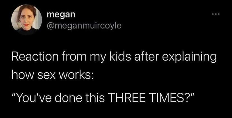 """Smile - megan @meganmuircoyle Reaction from my kids after explaining how sex works: """"You've done this THREE TIMES?"""""""