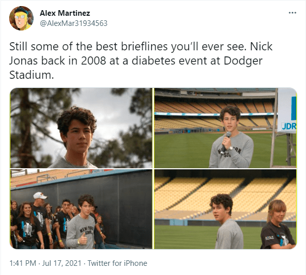 Outerwear - Alex Martinez @AlexMar31934563 Still some of the best brieflines you'll ever see. Nick Jonas back in 2008 at a diabetes event at Dodger Stadium. JDR MEN O 1:41 PM - Jul 17, 2021 · Twitter for iPhone