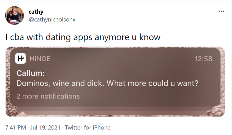 Brown - cathy @cathynicholsonx I cba with dating apps anymore u know H HINGE 12:58 Callum: Dominos, wine and dick. What more could u want? 2 more notifications 7:41 PM · Jul 19, 2021 · Twitter for iPhone