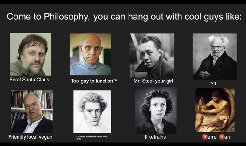 Forehead - Come to Philosophy, you can hang out with cool guys like: Feral Santa Claus Too gay to function TM Mr. Steal-your-girl >:( Friendly local vegan (Tm having a broakdown please send help) Iliketrains B arrel B an