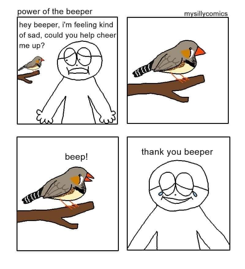 Facial expression - power of the beeper mysillycomics hey beeper, i'm feeling kind of sad, could you help cheer me up? thank you beeper beep!