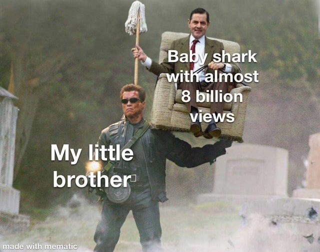 World - Baby shark with almost 8 billion views My little brother made with mematic