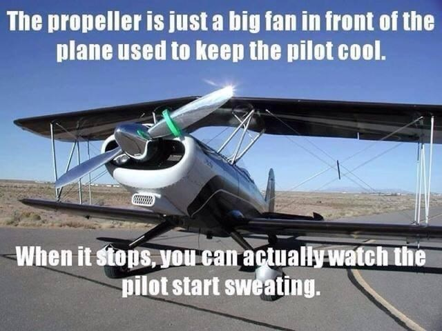 Sky - The propeller is just a big fan in front of the plane used to keep the pilot cool. When it stops, you can actually watch the pilot start sweating.