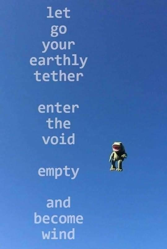 Sky - let go your earthly tether enter the void empty and become wind