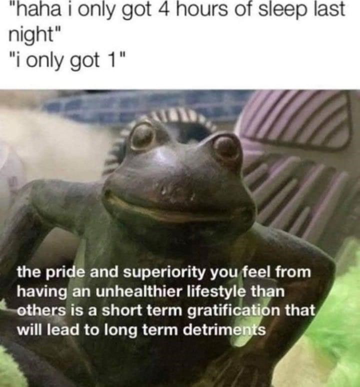 """Frog - """"haha i only got 4 hours of sleep last night"""" """"i only got 1"""" the pride and superiority you feel from having an unhealthier lifestyle than others is a short term gratification that will lead to long term detriments"""