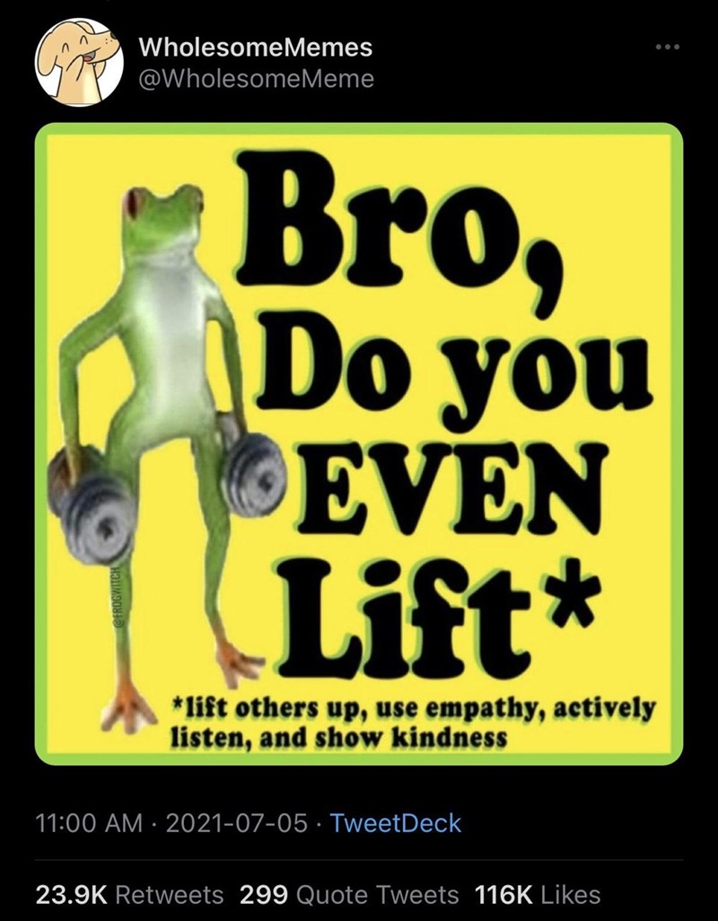 Poster - WholesomeMemes @WholesomeMeme Bro, \Do you EVEN Lift* *lift others up, use empathy, actively listen, and show kindness 11:00 AM · 2021-07-05 · TweetDeck 23.9K Retweets 299 Quote Tweets 116K Likes