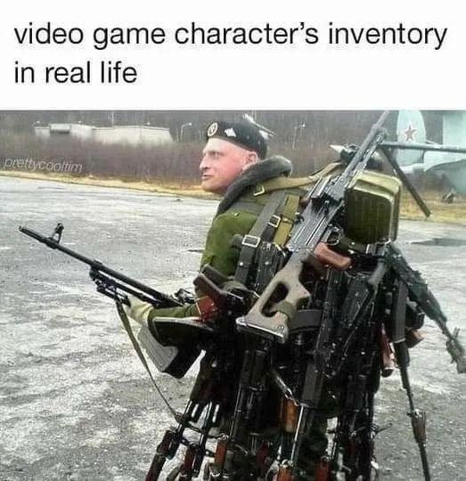 Military camouflage - video game character's inventory in real life prettycooltim