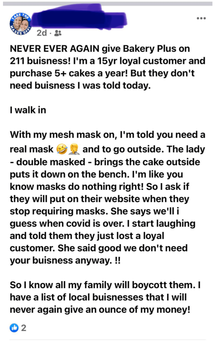 Font - THE ... CO 2d · * NEVER EVER AGAIN give Bakery Plus on 211 buisness! I'm a 15yr loyal customer and purchase 5+ cakes a year! But they don't need buisness I was told today. I walk in With my mesh mask on, I'm told you need a real mask and to go outside. The lady - double masked - brings the cake outside puts it down on the bench. I'm like you know masks do nothing right! Sol ask if they will put on their website when they stop requiring masks. She says we'll i guess when covid is over. I s