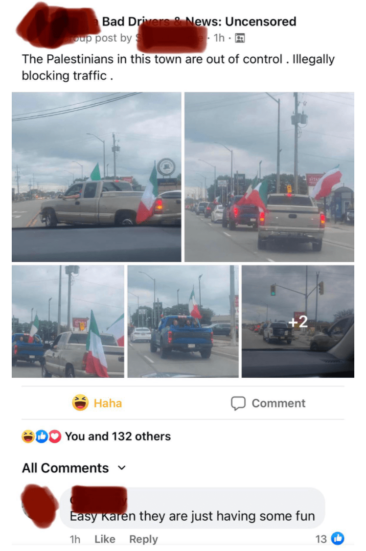 Tire - Bad Drivers & News: Uncensored oup post by 1h · A The Palestinians in this town are out of control . Illegally blocking traffic . +2 Haha Comment You and 132 others All Comments v Easy Karen they are just having some fun 1h Like Reply 13 O