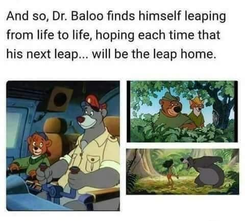 Vertebrate - And so, Dr. Baloo finds himself leaping from life to life, hoping each time that his next leap... will be the leap home.