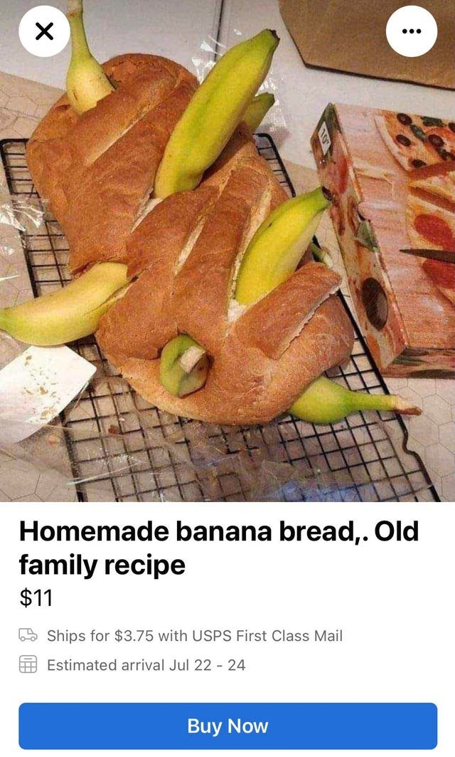 Food - Homemade banana bread,. Old family recipe $11 E Ships for $3.75 with USPS First Class Mail Estimated arrival Jul 22 24 Buy Now