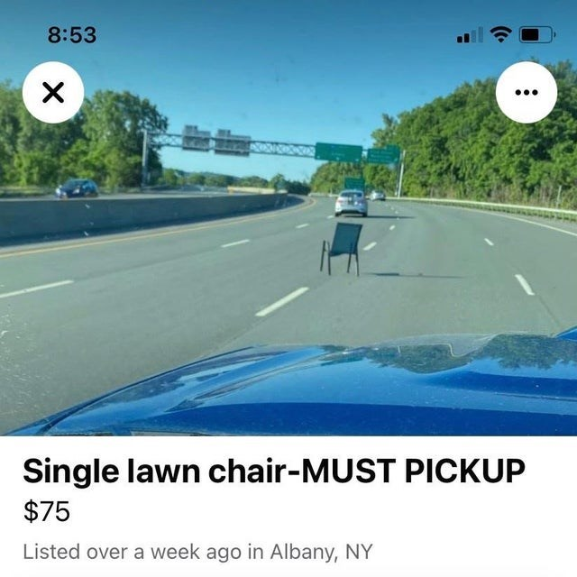 Sky - 8:53 Single lawn chair-MUST PICKUP $75 Listed over a week ago in Albany, NY