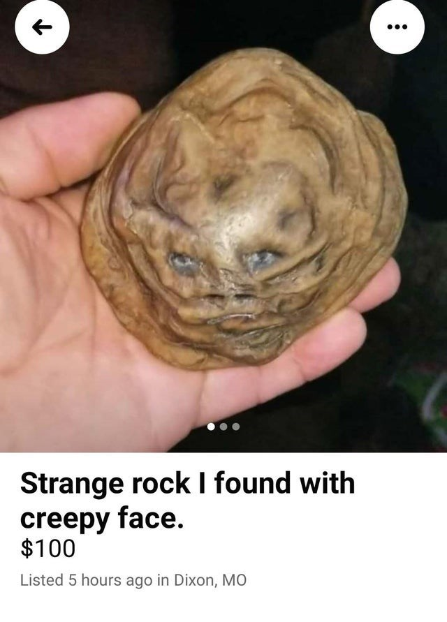Human - Strange rock I found with creepy face. $100 Listed 5 hours ago in Dixon, MO