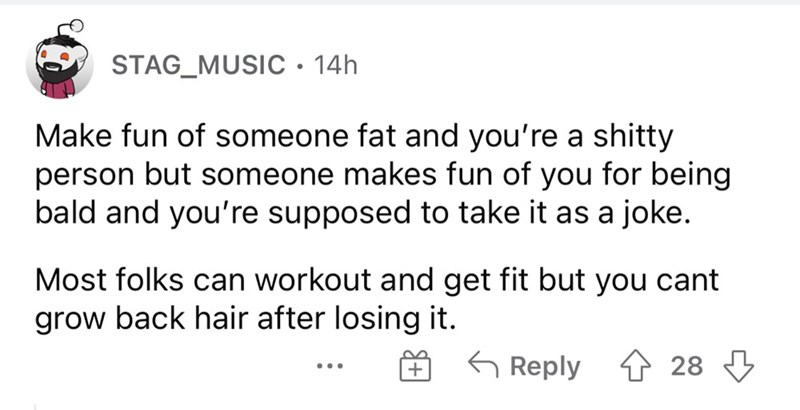 Font - STAG_MUSIC • 14h Make fun of someone fat and you're a shitty person but someone makes fun of you for being bald and you're supposed to take it as a joke. Most folks can workout and get fit but you cant grow back hair after losing it. G Reply 1 28 3 ...