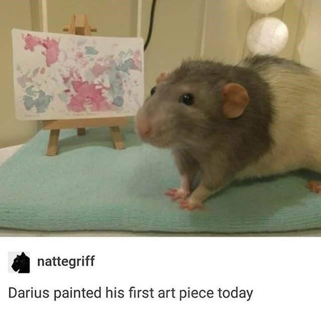 Vertebrate - nattegriff Darius painted his first art piece today